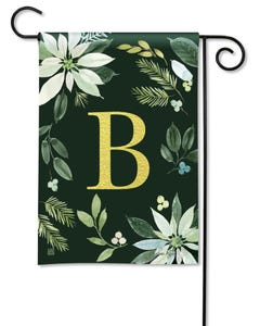 POD Poinsettia Joy Monogram B Garden Flag