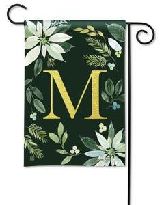 POD Poinsettia Joy Monogram M Garden Flag