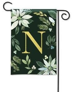 POD Poinsettia Joy Monogram N Garden Flag