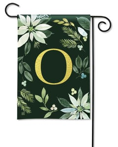 POD Poinsettia Joy Monogram O Garden Flag