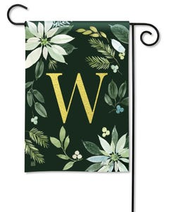 POD Poinsettia Joy Monogram W Garden Flag