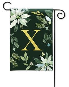 POD Poinsettia Joy Monogram X Garden Flag