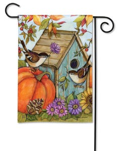 Autumn Birdhouse Garden Flag