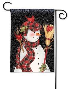 Snowman with Broom Garden Flag