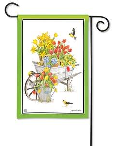 Springtime Wheelbarrow Garden Flag