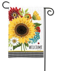 Sunflower Checks Garden Flag