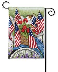 Red, White, and Blue Bike Garden Flag