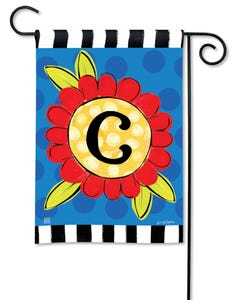 POD Pop of Flowers Monogram C Garden Flag