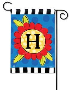 POD Pop of Flowers Monogram H Garden Flag