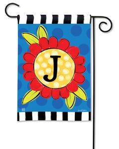 POD Pop of Flowers Monogram J Garden Flag