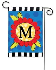 POD Pop of Flowers Monogram M Garden Flag