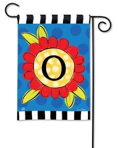 POD Pop of Flowers Monogram O Garden Flag