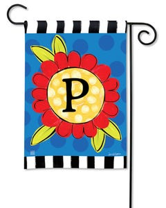 POD Pop of Flowers Monogram P Garden Flag