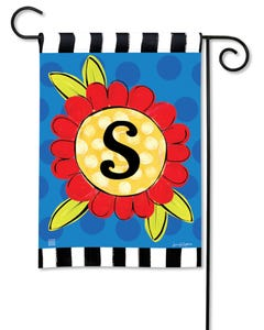 POD Pop of Flowers Monogram S Garden Flag