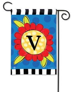 POD Pop of Flowers Monogram V Garden Flag