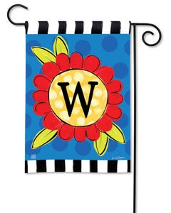 POD Pop of Flowers Monogram W Garden Flag
