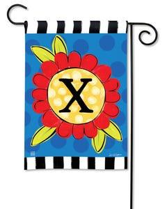 POD Pop of Flowers Monogram X Garden Flag