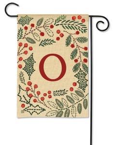 POD Holly Berries Monogram O Garden Flag
