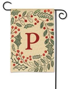 POD Holly Berries Monogram P Garden Flag
