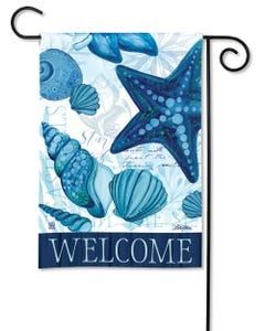 Blue Seashells Garden Flag