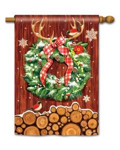 CLR Cozy Cabin Wreath Standard Flag
