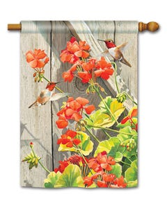Hummingbirds with Geraniums Standard Flag