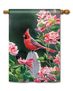 Cardinal with Variegated Roses Standard Flag