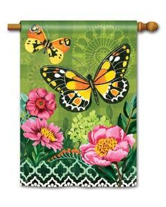 CLR Butterflies with Pink Flowers Standard Flag