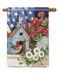 Patriotic Birdhouse Standard Flag