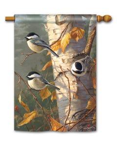 Chickadee Trio Standard Flag
