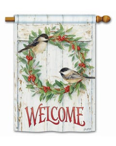 Chickadee Wreath Standard Flag