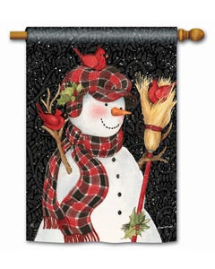Snowman with Broom Standard Flag