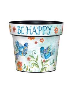 "Happy Bluebirds 6"" Art Pot"