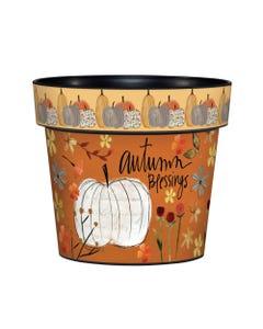 "White Pumpkin Blessings 6"" Art Pot"