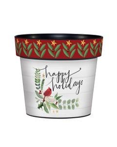 """Holiday Cardinal 6"""" Art Pot"""