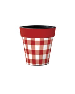"""Red and White Check 12"""" Art Planter"""