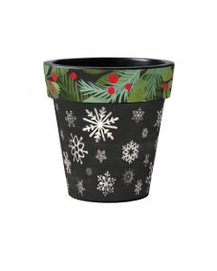 "Snowflakes With Berries 15"" Art Planter"
