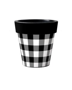 "Black And White Check 15"" Art Planter"