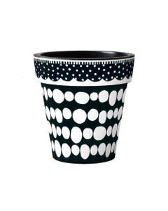 "Black and White Dots 15"" Art Planter"