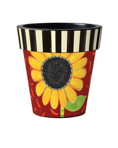 "Bold Sunflower on Red 18"" Art Planter"
