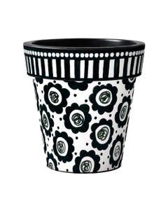 "Black and White Flowers 18"" Art Planter"