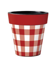 """Red and White Check 18"""" Art Planter"""