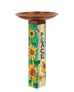Peaceful Day Bird Bath Art Pole w/ST9021 Copper Topper
