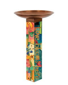 Love Garden Bird Bath Art Pole w/ST9021 Copper Topper