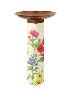 Cutting Garden Bird Bath Art Pole w/ST9021 Copper Topper
