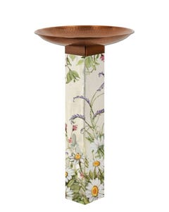 Farmhouse Garden Bird Bath Art Pole w/ST9021 Copper Topper