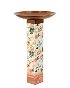Terra Flora Bird Bath Art Pole w/ST9021 Copper Topper