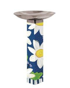 Daisy Blues Bird Bath Art Pole w/ST9025 Stainless Topper