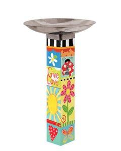 Folk Garden Bird Bath Art Pole w/ST9025 Stainless Topper