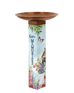 Sweet Home Bird Bath Art Pole w/ST9021 Copper Topper